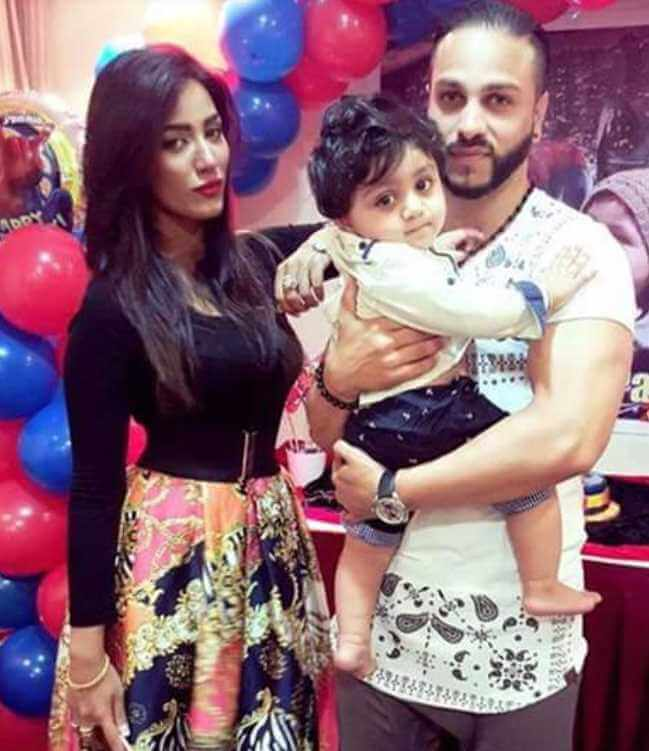 Mathira with her Husband & Son