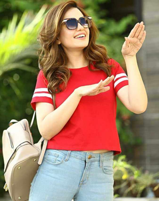 Sumbul Iqbal Red Color T-Shirt