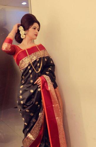 Black -Red Saree wear Pori Moni